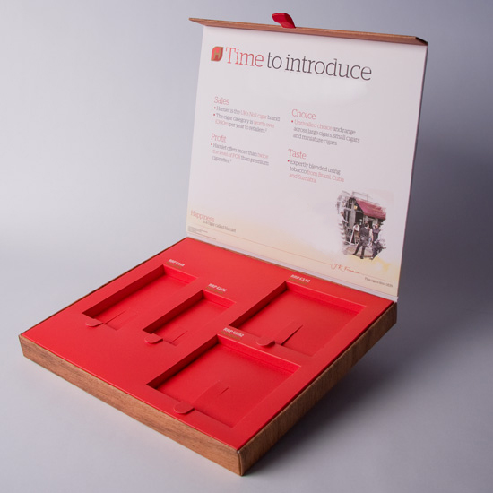 Rigid Style Hinged Lid promotional box with Multiple Apertures