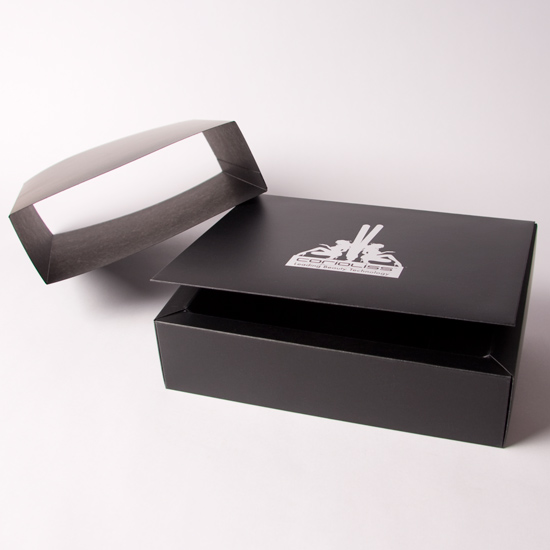 Foil Blocked Hinged Lid promotional box with Sleeve