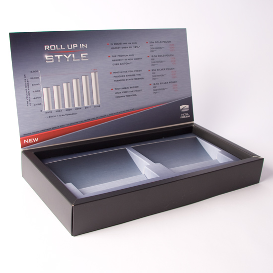 Hinged Lid promotional box with Angled Plinth