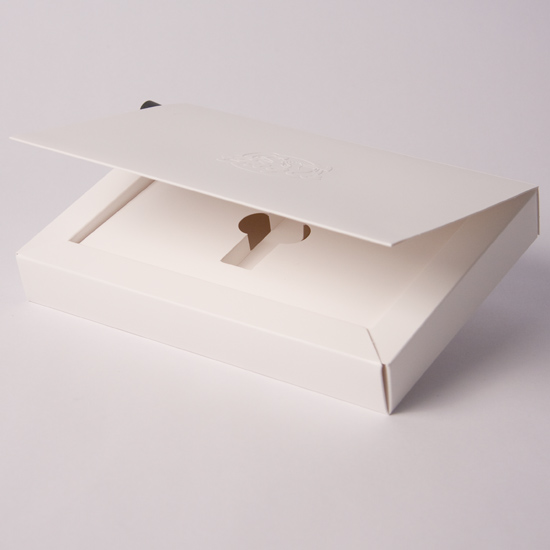 Baffle Wall Hinged Lid promotional box with Plinth to hold USB
