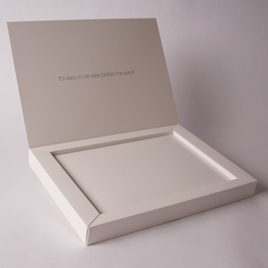 Hinged Lid promotional box with Board Shelf